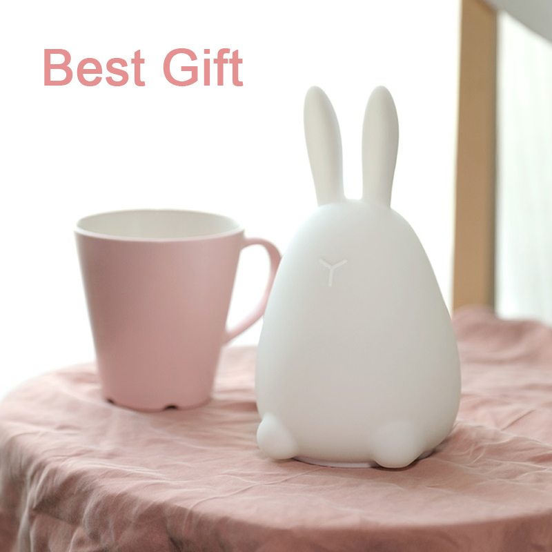 Kawaii Mi Rabbit Patted Silicone LED Lamp Night Light Multicolor Touch Sensor Tap Control Best Gift for Children Baby Kids Light