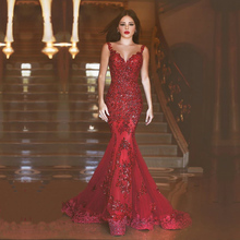 Robe de soiree Long Mermaid Evening Dress 2017 Lace Sequins Sweetheart-Neck Sweep Trail Lace Evening Gowns Vestido de festa