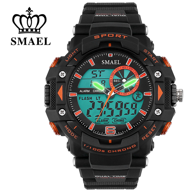 SMAEL Brand Sport Watch Military Men 30M Waterproof Wristwatch Digital Dual Display relogio masculino Men Birthday Gifts WS1379