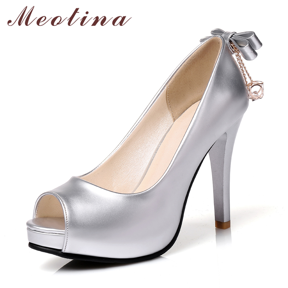 Meotina Shoes Women High Heels Peep Toe Platform Pumps Stiletto Heels Bow  Wedding Shoes Slip On Pumps Silver chaussures femme