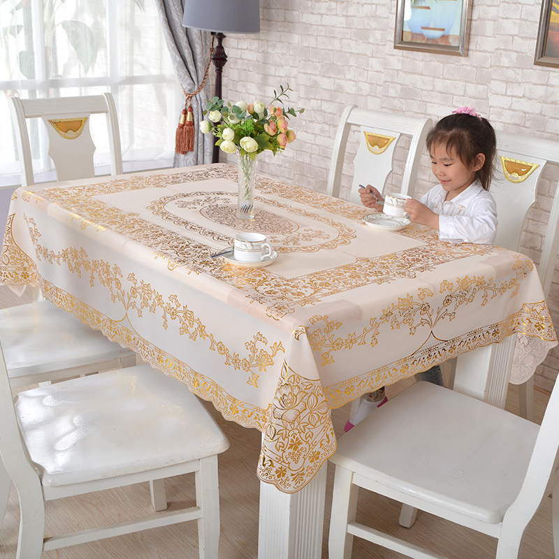 European Rectangle Tablecloth Scald Gold PVC Tablecloth Waterproof Oilproof Kitchen Dining Cover For Party Wedding Tablecloth