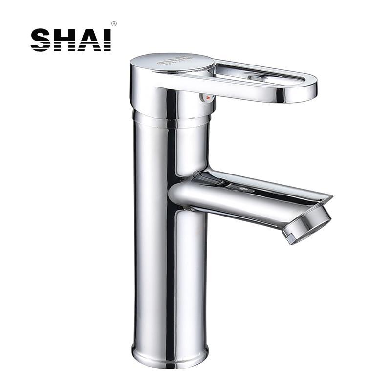 Brass Bathroom Single Handle Mixer Tap Chrome Finished: SHAI Single Handle Bathroom Basin Faucet Brass Vessel Sink