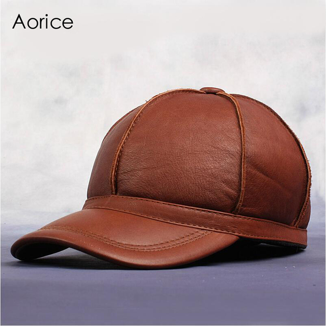 Aorice New Men s Women s 100% Real Cow Leather Golf Hat Autumn Winter Keep  Warm Outdoor Sports Baseball Cap Adjustable HL028-2 aac0e907a48