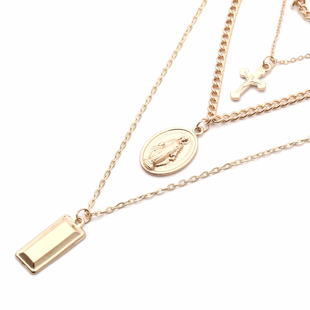Ingesight Multilayer Crucifix Cross Virgin Mary Pendant Chain Choker Necklace Goddess Rectangle Pendant Christian Necklace Women