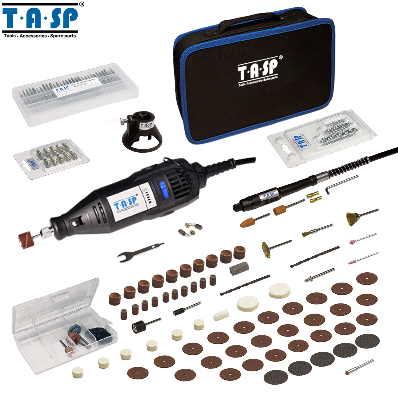 TASP 220 V 130 W Outil Rotatif Ensemble Électrique Mini Forage Graveur avec Arbre Flexible et 140 Accessoires Outils Électriques