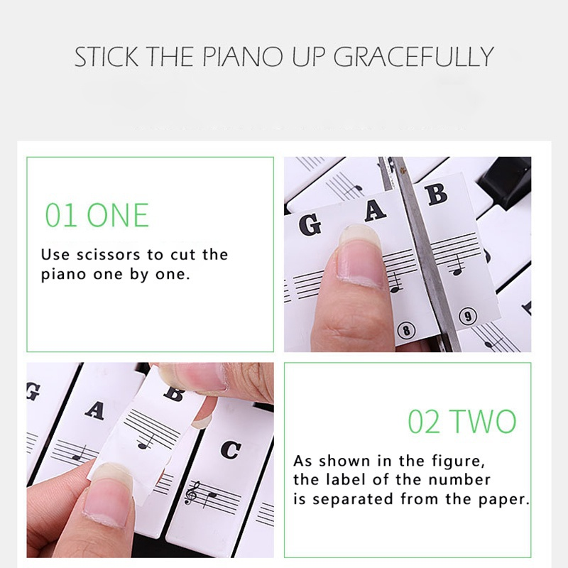 Piano Sticker Transparent Piano Keyboard Sticker 54 61 88 Key Electronic Keyboard 88 Key Piano Stave Note Sticker For Piano Keys