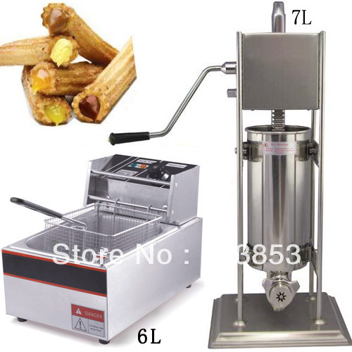 High quality 2 in 1 7L Spainish Churro Maker Machine + 6L Electric Deep Fryer free shipping commercial manual spanish 6l gas fryer churro churrera fryer maker machine