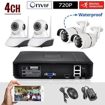 CORINA Mini NVR Full HD 4 Kanaals Beveiligingssysteem IP CCTV Camera Systeem Android/ios APP Controle Netwerk Video Recorder