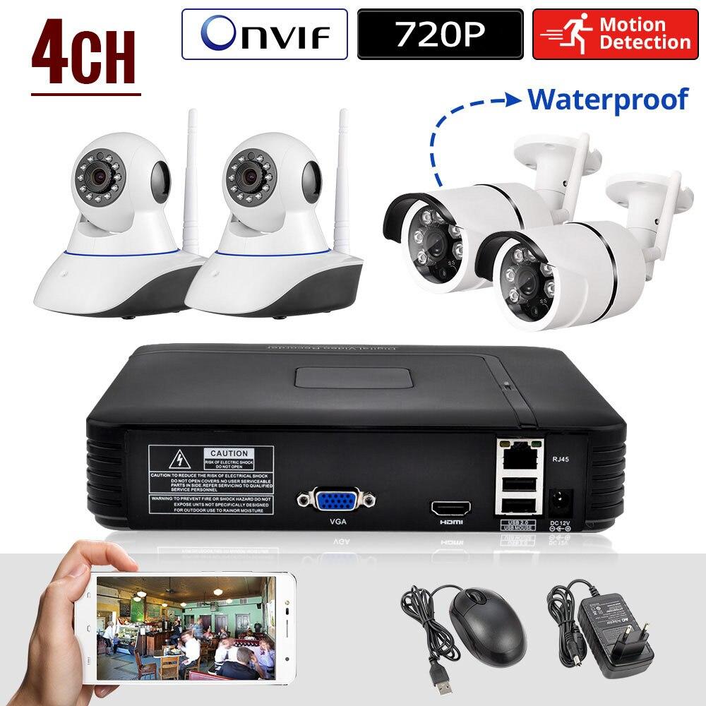 KERUI Mini NVR Full HD 4 Canaux Système de Sécurité IP Caméra DE VIDÉOSURVEILLANCE Système Android/ios APP Contrôle Vidéo Réseau enregistreur