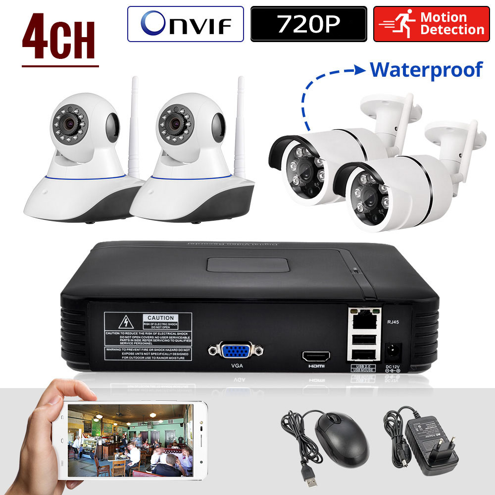 KERUI Mini NVR Full HD 4 Canaux Système de Sécurité IP CCTV Caméra Système Android/ios APP Contrôle 1080 P Réseau Vidéo enregistreur