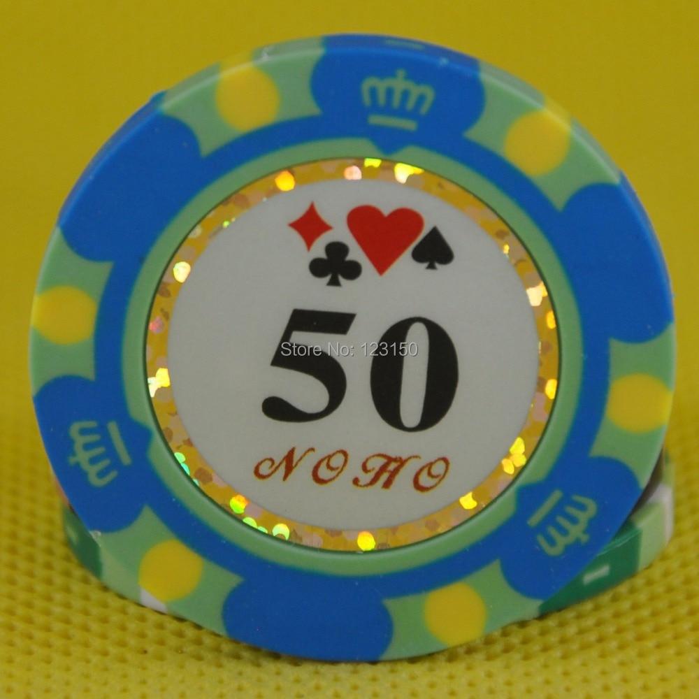 PK-8002B 50pcs/pack Clay 14g Poker Chips insert metal 11 denomination