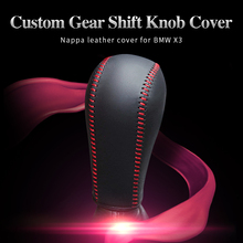 Black genuine leather Gear stick shift knob cover For BMW X3 AT 2018 Year gear lever auto Car accessories cpr pen