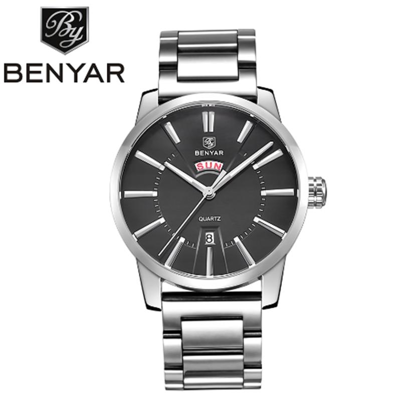 Watches Men Luxury Brand BENYAR Sport Military Waterproof Quartz Watch Men Full Steel Wristwatches relogio masculino + gift