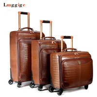 162024Wheel Suitcases Bag Rolling Luggage Case High grade Crocodile pattern PU Leather Travel Trolley box Business laptop bag
