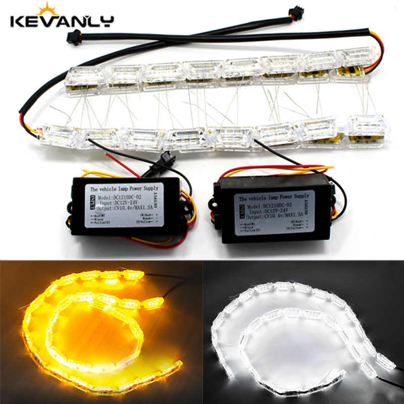 2pcs DRL 14 16LED Flexible Flowing Waterproof Sequential Strip Light DRL daytime running light Turn Signal angel eye White Amber