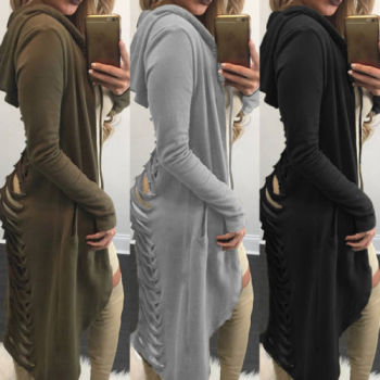 Gothic Women Ladies Cut Out Cardigan Long Ripped Back Hooded Sweater