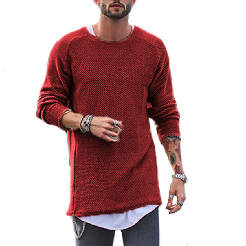 Men Solid Causal Sweater For Men Crew Neck Long Sleeve Hip Hops Stylish Sweater Male Fashion Streetwear Sweater Tops Fashion New