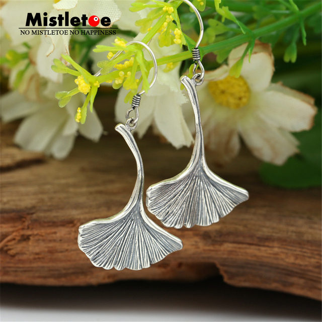 Authentic 925 Sterling Silver Vintage Ginkgo leaves Drop Earrings For Women Or Men Jewelry