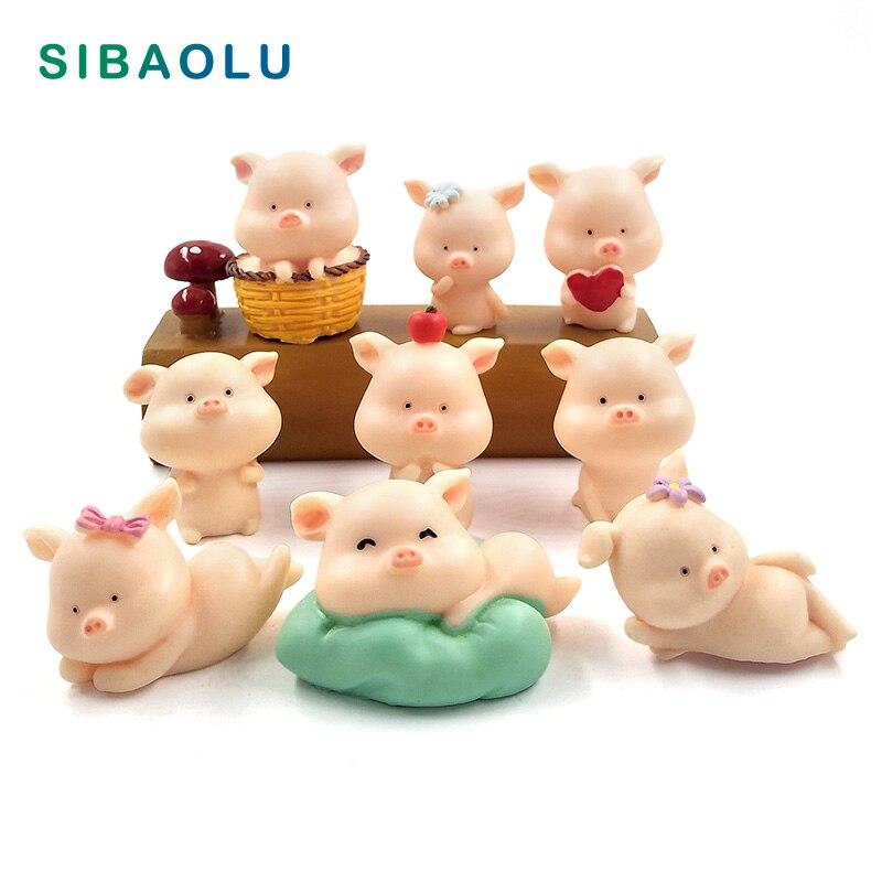 Resin Craft Mini Cute Pig Figurine Animal Model Moss Micro Landscape Home Decor Miniature Fairy Garden Decoration Accessories