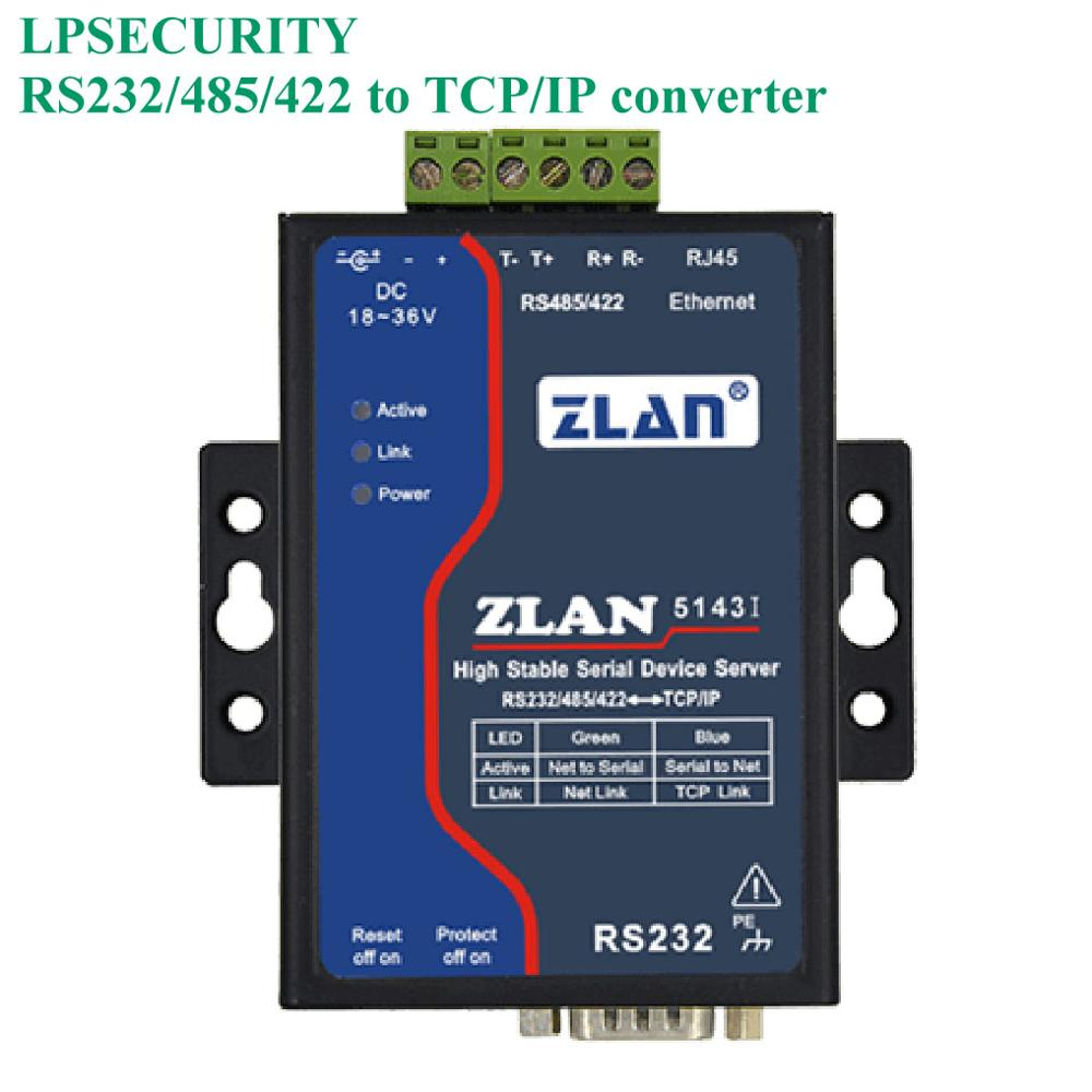LPSECURITY ZLAN5143I RS232/RS485/RS422 To TCP/IP Ethernet Converter Isolation 256 Multihost Mobdus Gateway Serial Device Server
