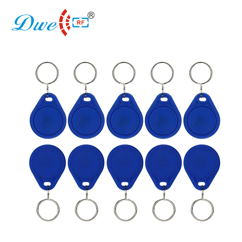 DWE CC RF Access Control Card Plastic Blue duplicator key rewritable UID tag rfid 13.56mhz duplicator keys non standard die cut plastic combo cards die cut greeting card one big card with 3 mini key tag card