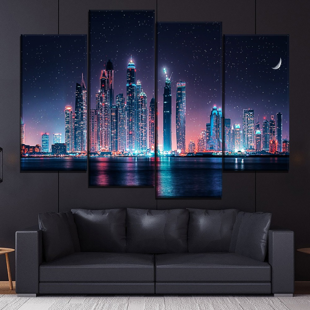 Dubai-Skyline-At-Night-Painting-1-Piece-Style-Canvas-Print-Type-Picture-Modern-Home-Decorative-Wall (1)
