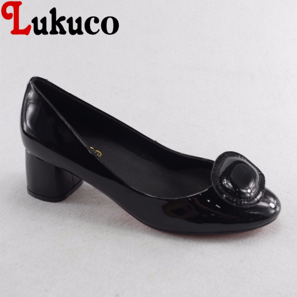 Lukuco sweet pure color women appliques casual pumps microfiber made patent leather med heel shoes with pigskin inside lukuco pure color women mid calf boots microfiber made buckle design low hoof heel zip shoes with short plush inside