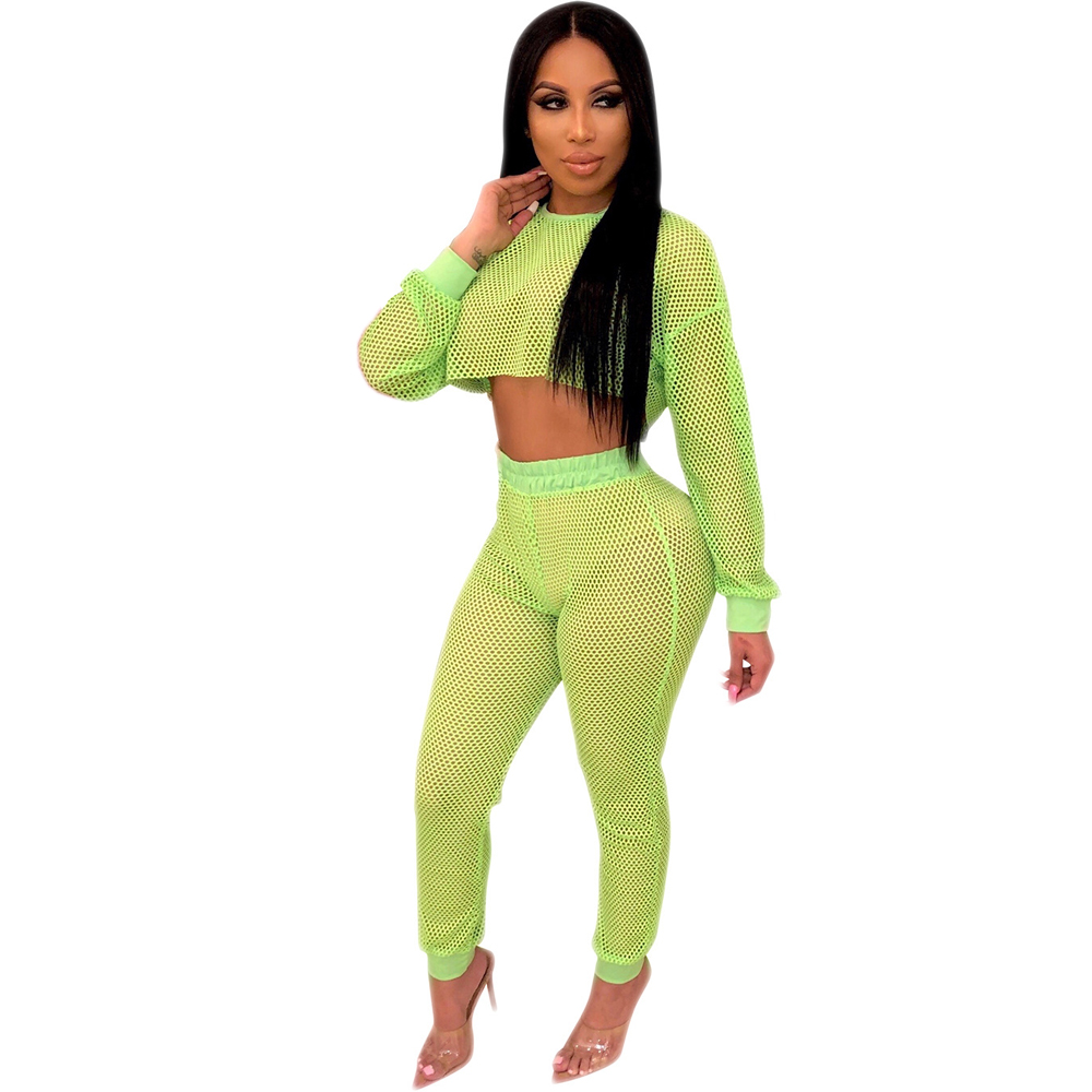 Two Pieses Set Women Jumpsuits Long Sleeve Sexy See Through Mesh Slim High Waist Hollow Out Fishnet Night Club Party Romper