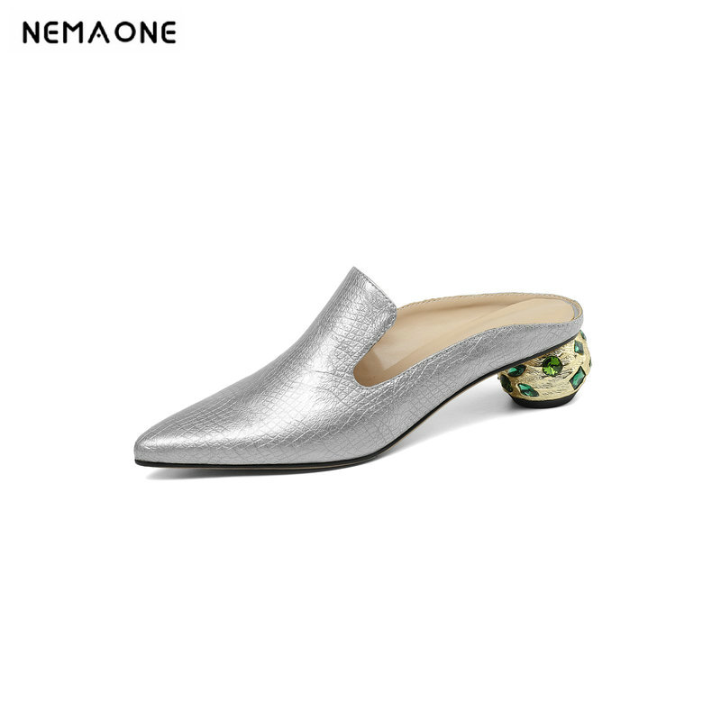 NEMAONE Summer shoes woman Genuine Leather slippers Woman Fashion Casual Sandals Comfort Slippers Female dress shoesNEMAONE Summer shoes woman Genuine Leather slippers Woman Fashion Casual Sandals Comfort Slippers Female dress shoes