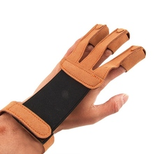 Shooting archery finger gloves Archery Protect Glove 3 Fingers Pull Bow arrow Leather Shooting Gloves недорого
