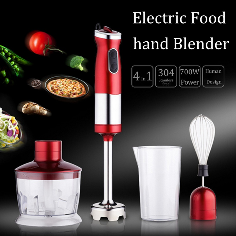 4 in 1 Electric Food Hand Blender Mixer Whisk Chopper Jug Cup Processor Red 304 Stainless Steel + Plastic 220V 700W Kitchen