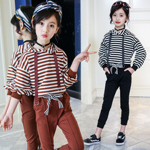 Kids Clothes 2019 new Long sleeve Children's suit Hooded Striped Children Clothing 3-12 years baby coat+ pants Baby Girl Clothes цены онлайн