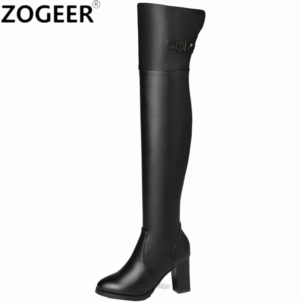 Plus size 45 Sexy Over the Knee Boots Women Fashion High Heel Thigh high Boots Classic Shoes Woman Black Brown 2017 new women boots square toe fashion knee high boots motorcycle sexy thick high heel boots woman shoes black plus size 34 42
