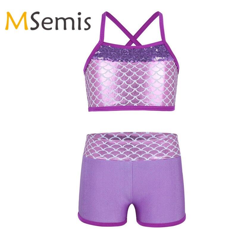 MSemis Big Girls Summer Two-Pieces Tankini Swimwear Rack Back Top with Boyshort Sets