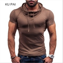2017 new sports casual tide male shenzhen button scarf pile heap collar short sleeve t shirt bottom shirt solid color sexy fitne