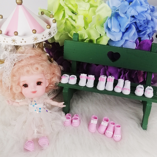 Shoes for 1/12 BJD OB11 rubber bow shoes suitable for 1/8 middie  toys gifts