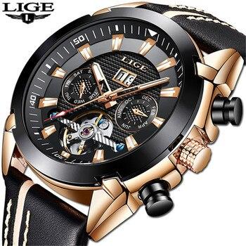 LIGE New Men's Automatic Mechanical Watches Fashion Top Brand Sports Watch Men Tourbillon Business Wristwatch Relogio Masculino