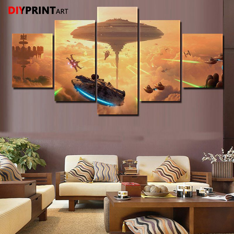Canvas Art Game Movie Poster StarWars Attack 5 Panels Wall Decor Painting Wall Decorations Living Room Paintings A1731 image
