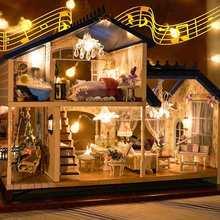 Music LED Light Miniature Doll House Provence Dollhouse DIY Kit Wooden House