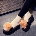 Flor Plataforma Das Sandálias Das Mulheres 2017 Sapatas do Verão Mulher Senhoras Cunhas Plataforma Aleta Chinelos Verão Chinelos Sapatos de Praia Mulher