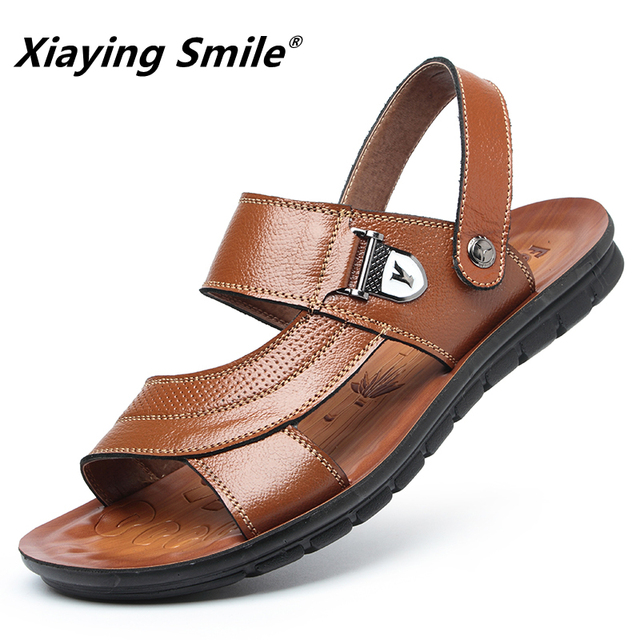 e8fed57e37af8 ... Sandals Men Leather Genuine New Summer Split Fashion Vintage Flat Solid Beach  Shoes For Men Breathable ...