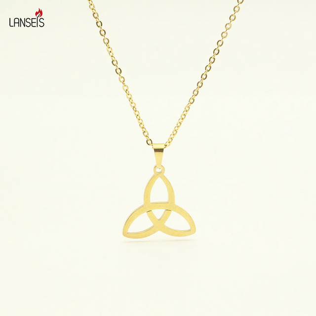 Lanseis The Holy Trinity Symbol Necklace Pendant Stainless Steel