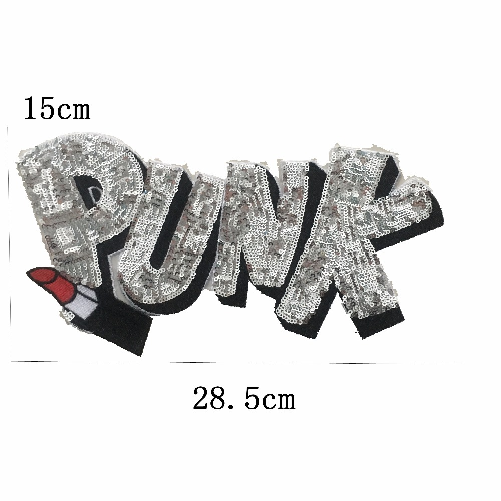 Sequin PINK PUNK Lipstick Fashion Embroidered Iron on Patch DIY Large