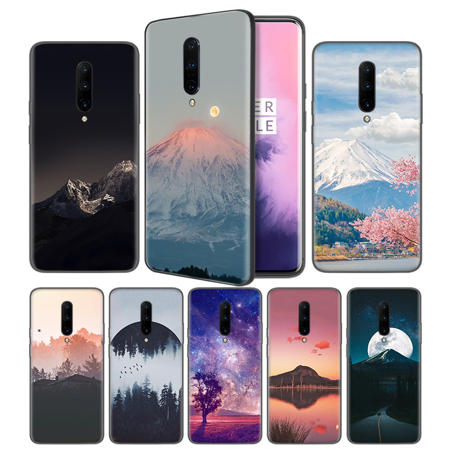 The dark sun mountains Soft Black Silicone Case Cover for font b OnePlus b font 6