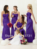 2014 Modern Mermaid Sweetheart Floor Length Long Purple Bridesmaid Dresses Satin Wedding Party Dresses Free Shipping