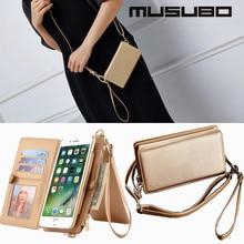 Musubo для iPhone 7 Plus чехол кожаный бумажник съемный флип кошелек чехол для iPhone 7 Чехол Для Девочек Многофункциональный чехол Сумочка