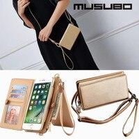 Musubo para el iPhone 7 caso cartera de cuero desmontable Flip monedero para iPhone 7 chica caso de la cubierta multifunción bolsa bolso