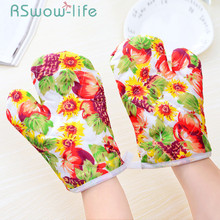 2 Pcs Cotton And Linen Baking Gloves Microwave Insulated Barbecue Anti-hot For Kitchen Supplies