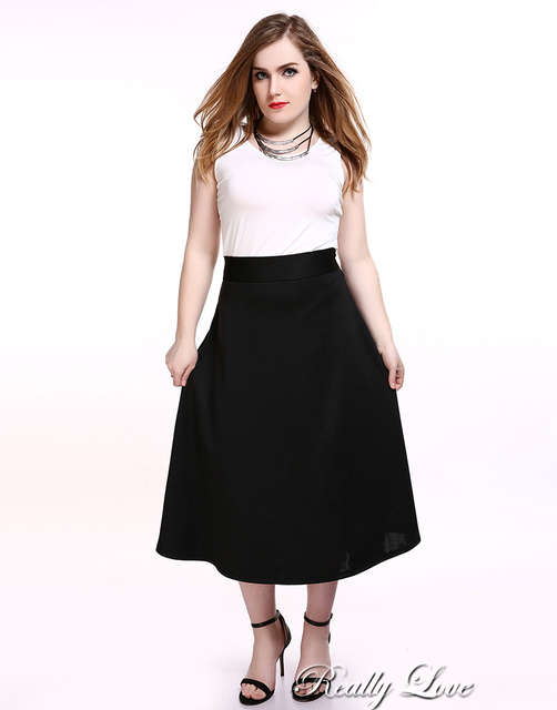 f4d302c2ca540 Cute Ann Women s Plus Size A-line Skirt Black And White Casual Midi Skirt  Summer Spring Cocktail Party Wear