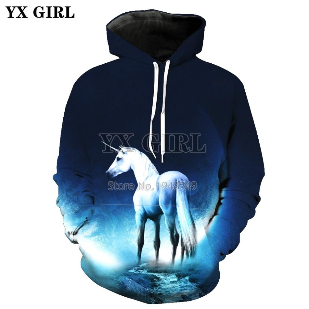 YX GIRL Drop shipping 2018 New Fashion Galaxy 3d hoodies MenWomen Sweatshirt Unicorn horse Print hipster Hooded Sweatshirt